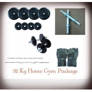 32 Kg Rubber Plates Home Gym Package + Rods + Bicep Rod + Gloves.
