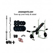 Weight Lifting Package 100 Kg + Imported Kamachi Multipurpose Weight Bench ( 3 Level Incline, Dumbbell Fly & Leg Raise )