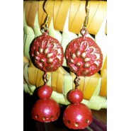 Red n Gold Terracotta earring