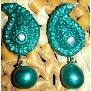 Green mango terracotta earring