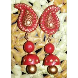 Red n Gold mango earring
