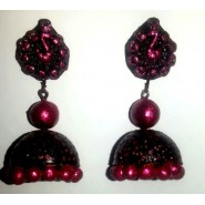 Black n Pink terracotta jhumka