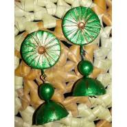Green n gold terracotta jhumka