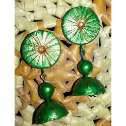 Green n gold terracotta jhumka