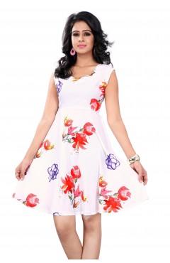 White Fashion Polister western Dress