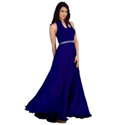 Blue Fashion Velvet Gown