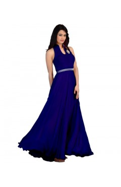 Blue Fashion Velvet Gown