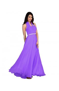Purple Fashion Velvet Gown