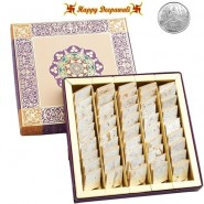 Diwali Special Pure Kaju Katlis with complimentary Silver Plated Coin