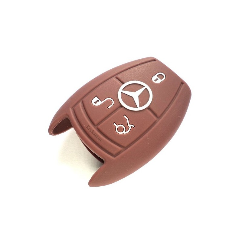 Silicone Key Cover For Mercedes Benz 3 Button Smart Key (Brown)