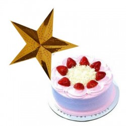 Strawberry Cake - 1kg with a Christmas star