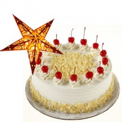 White Forest Cake-1kg with a Christmas star