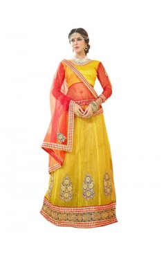 Embroidered Yellow Soft Net Heavy Border Lehenga Choli