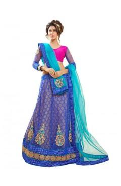 Embroidered Blue Soft Net Heavy Border Lehenga Choli