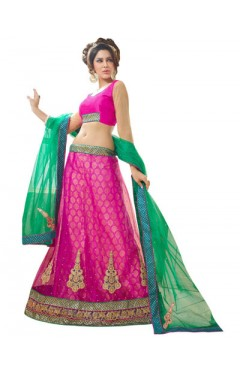 Embroidered Magenta Soft Net Heavy Border Lehenga Choli