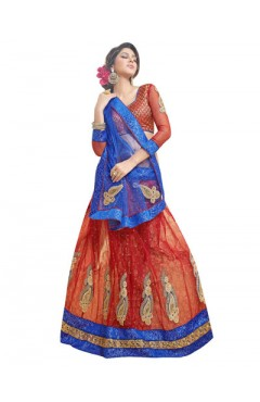 Embroidered Maroon Soft Net Heavy Border Lehenga Choli