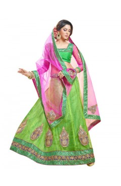 Embroidered Light Green Soft Net Heavy Border Lehenga Choli