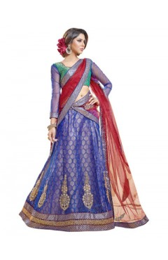 Embroidered Blue Soft Net Heavy Border Lehenga Choli