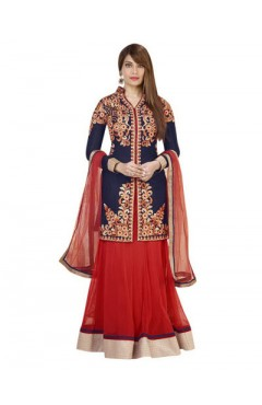 Embroidered Red Net Lehenga Choli