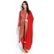 Embroidered Red Georgette Semi Stitched Salwar Suit