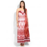 Embroidered Red & White Cotton Semi Stitched Salwar Suit
