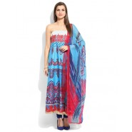 Embroidered Light Blue & Pink Cotton Semi Stitched Salwar Suit