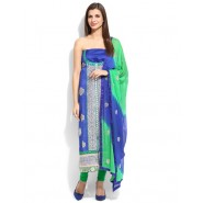 Embroidered Blue Chanderi Semi Stitched Dress Material