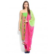 Embroidered Light Green Chanderi Semi Stitched Dress Material