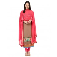 Embroidered Beige Georgette Semi Stitched Dress Material
