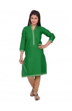 Printed Green Cotton Kurti