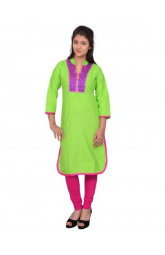 Embroidered Light Green Cotton Kurti