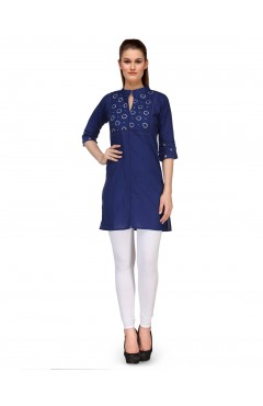 Embroidered Blue Cotton Kurti