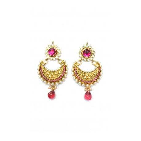 Pink Polki Earrings