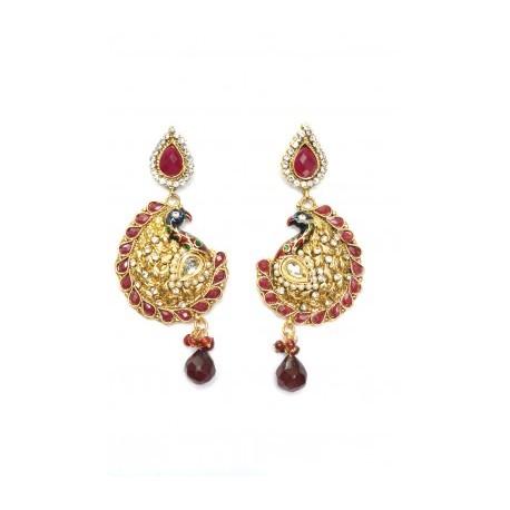 Red Polki Earrings