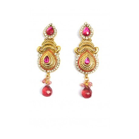 Pink Polki Earrings