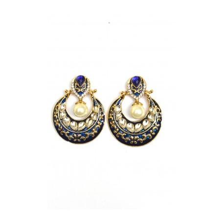 Blue Polki Earrings