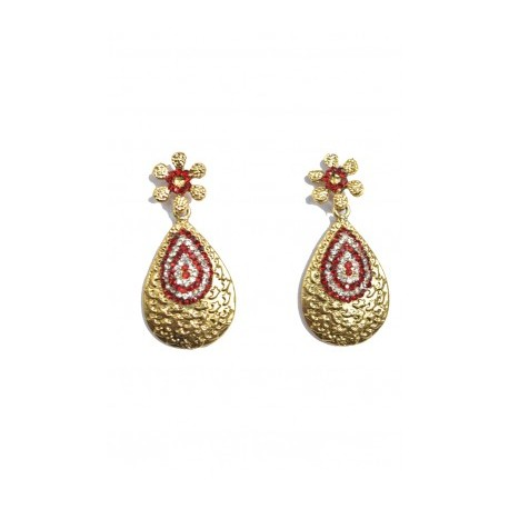 Red Polki Earrings