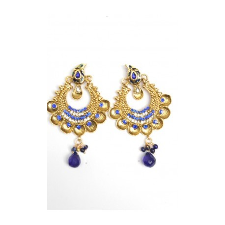 Blue Polki Earrings
