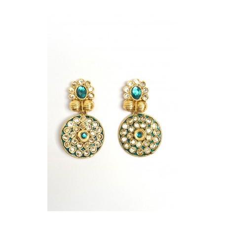 Green Polki Earrings