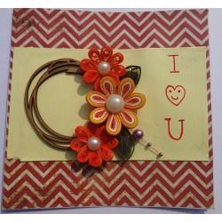 I love u smiley floral card