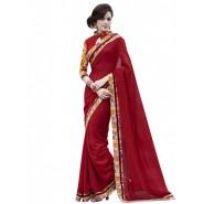 Red Georgette jacquard Printed Saree