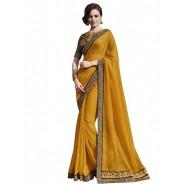 Yellow Satin Jacquard Embroidery Saree