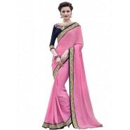 Pink Crepe Jacquard Embroidery Saree