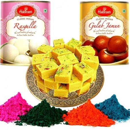 Rasgulla with Soan Papdi & Gulab Jamun Gulal Combo