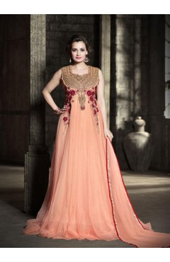 Peach Embroidered Gown